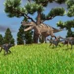 Gigantoraptors and ceratosaurus dinosaur — Stock Photo #45297999