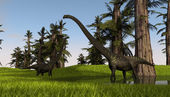 Two mamenchisaurus — Stock Photo