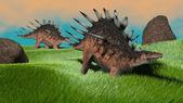 Prehistoric Kentrosaurus dinosaurs — Stockfoto