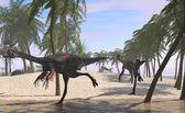 Gigantoraptor dinosaurs flock — ストック写真