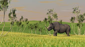 Grazing brontotherium — Stock Photo
