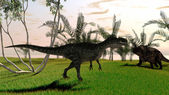 T-rex and Einiosaurus dinosaur — Stock Photo