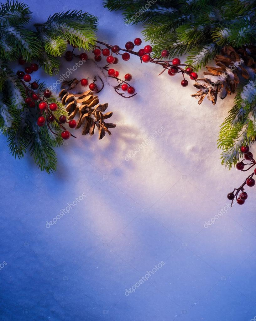 Blue snow, Christmas background, frame of fir branches — Stock Photo #13899608