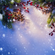 Art Blue snow Christmas background, frame of fir branches — Stock Photo