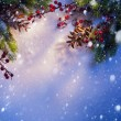 Blue snow Christmas background, frame of fir branches - Stock Photo