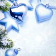 Stock Photo: Art christmas decoration on blue vintage background