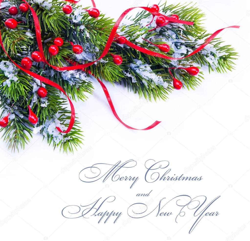 Christmas Decorations With Tree Branches: Christmas Decoration Tree Branches On White Background