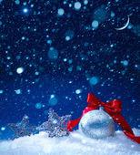 Art snow christmas decoration magic lights background — Stock Photo