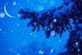 Art neige arbre de Noël magique de lumières fond — Photo