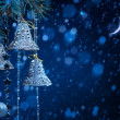 Art snow christmas decoration on blue background — Stock Photo