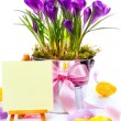 Easter card with eggs and spring flowers — Stock Photo #20394999