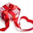 Art valentine day gift box on white background — ストック写真
