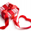 Art valentine day gift box on white background - Stockfoto