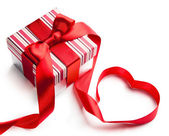 Art valentine day gift box on white background — Stok fotoğraf