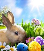 Arte pequeño conejo de pascua y los huevos de pascua en hierba verde — Foto de Stock