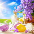Art Easter bunny and Easter eggs — Stock Photo #22273983