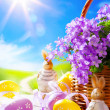 Art Easter bunny and Easter eggs — Stock Photo
