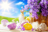 Arte conejo de pascua y los huevos de pascua — Foto de Stock