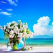 Stock Photo: Art seascape and jasmine flowers