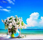 art seascape and jasmine flowers — Stock Photo