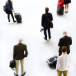 Art silhouettes of traveling. Waiting Departure — Stock Photo
