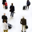 Art silhouettes of people traveling. Waiting Departure — Stock Photo