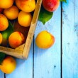 Art abstract market background fruits on a wooden background — Stock Photo #28739337