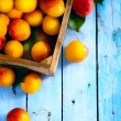 Art abstract market background fruits on a wooden background — Stock Photo