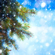 Stock Photo: Art Christmas tree branch and snow fall