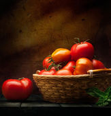 Abstract food background vegetables on a wooden background — Stock Photo