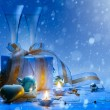 Stock Photo: Art Christmas and New Year party champagne and gift