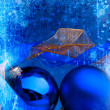 Art blue Christmas balls — Stock Photo