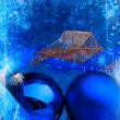 Stock Photo: Art blue Christmas balls