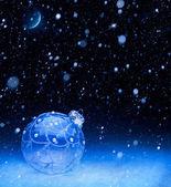 Art blue Christmas ball — Stock Photo