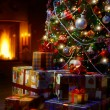 Art Christmas Tree and Christmas gift boxes in the interior with — Stock Photo
