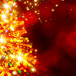 Abstract golden light christmas tree on red background — Stock Photo #34426135
