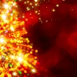 Abstract golden light christmas tree on red background — Stock Photo