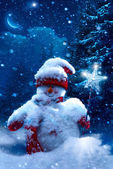 Christmas snowman and fir branches covered with snow — Stock Photo