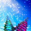 Stock Photo: Art Christmas tree on blue night background