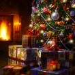 Christmas Tree and Christmas gift boxes in the interior with a f — Stok Fotoğraf #34903947