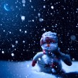 Stock Photo: Art Christmas night - background with snowman in the snow