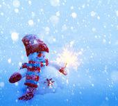 Art Snowman Christmas card — Stock Photo