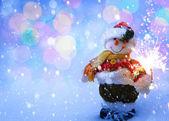 Art funny Snowman Christmas card — Stock Photo