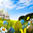 Art easter eggs on spring field — Stock Photo