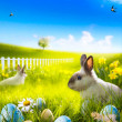 Art Easter bunny rabbit and easter eggs on meadow. — Stock Photo