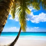 Art sunset on beach Caribbean island, seychelles — Stock Photo #45997137