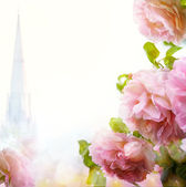 Abstract Beautiful morning floral border background  — Stock Photo