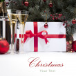 Christmas greeting card with champagne — Stock Photo #7526009