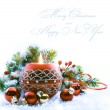 Christmas greeting card with Christmas Decorations on white bac — Stock Photo #8174602