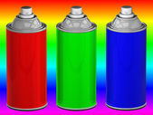 Color spray cans — Stockfoto